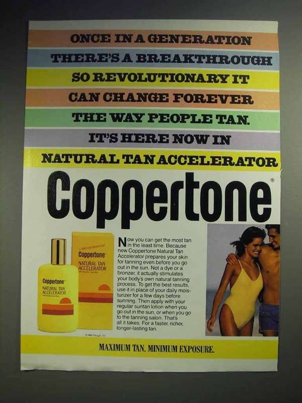 1986 Coppertone Natural Tan Accelerator Ad