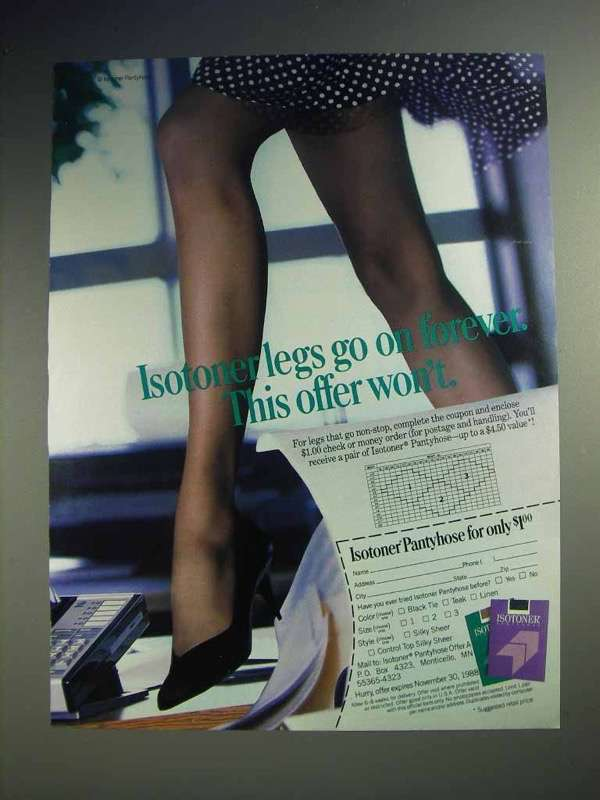 1988 Isotoner Pantyhose Ad - Legs Go On Forever