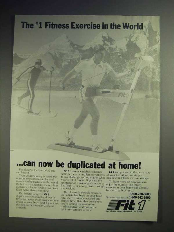 1985 Fit 1 Ski Machine Ad - #1 Fitness Exercise