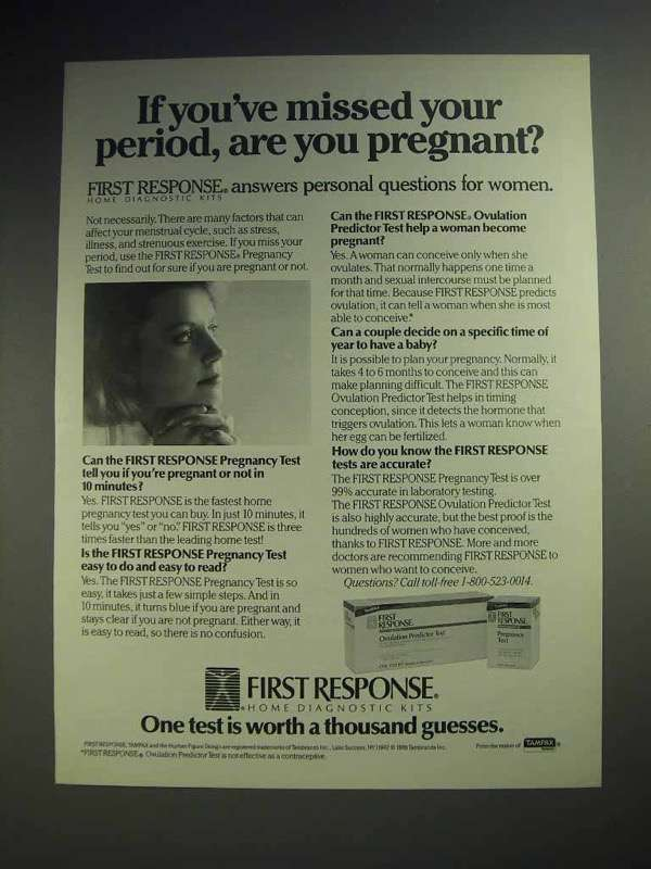1988 First Response Pregnancy Test Ad - Missed Period