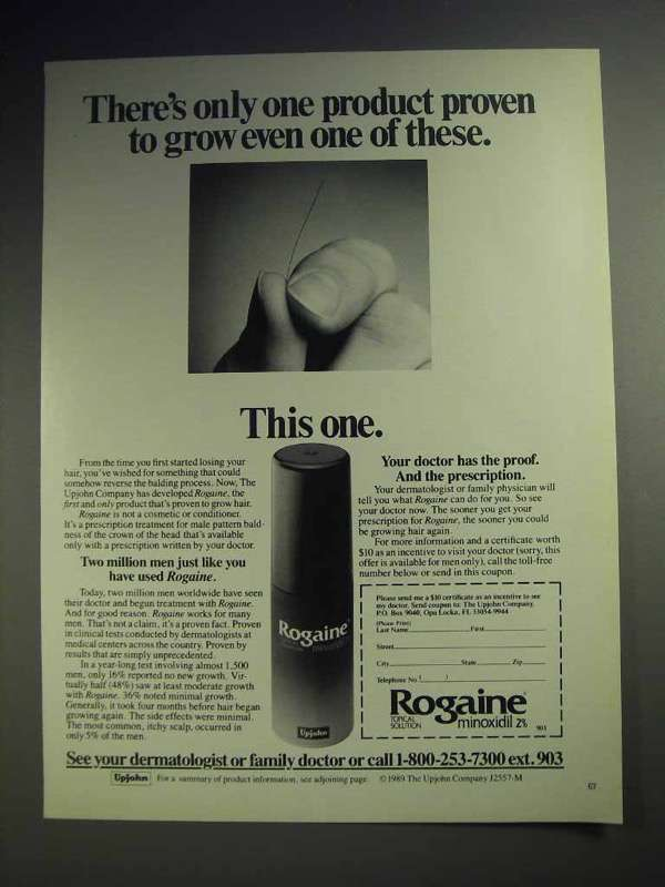 1990 Rogaine Hair Loss Treatment Ad - Product Proven