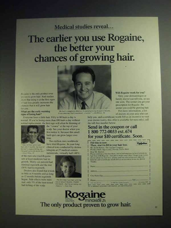 1991 Rogaine Hair Loss Treatment Ad - Better Chances