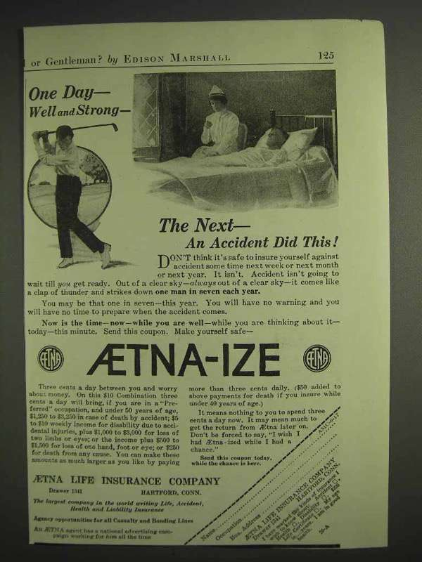 1917 Aetna Insurance Ad - One Day Well and Strong