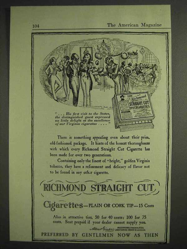 1917 Richmond Straight Cut Cigarettes Ad