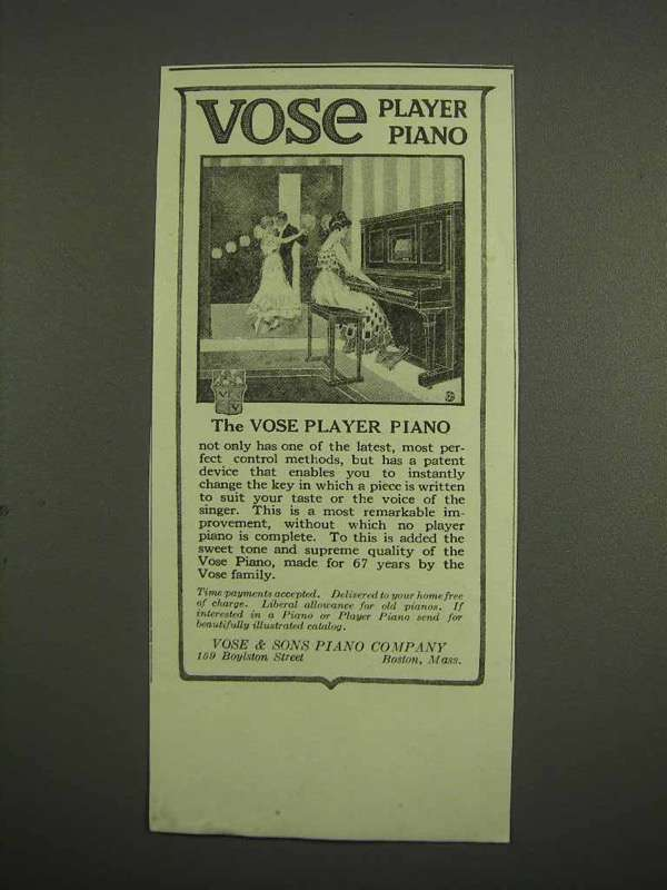 1917 Vose Player Piano Ad!
