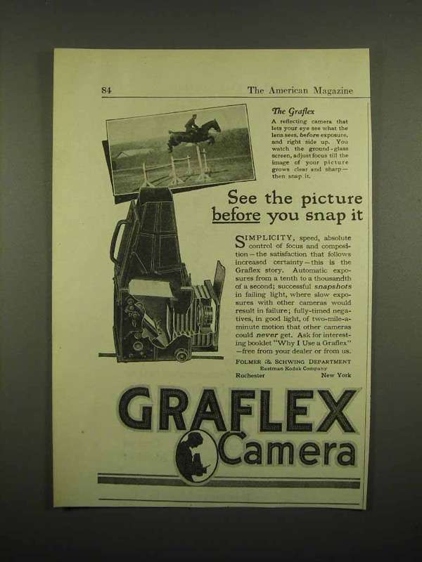 1918 Graflex Camera Ad - See Picture Before You Snap