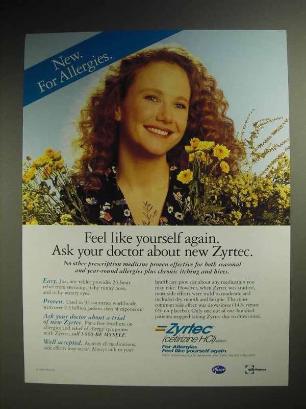 1996 Pfizer Zyrtec Allergy Medicine Ad - Yourself Again