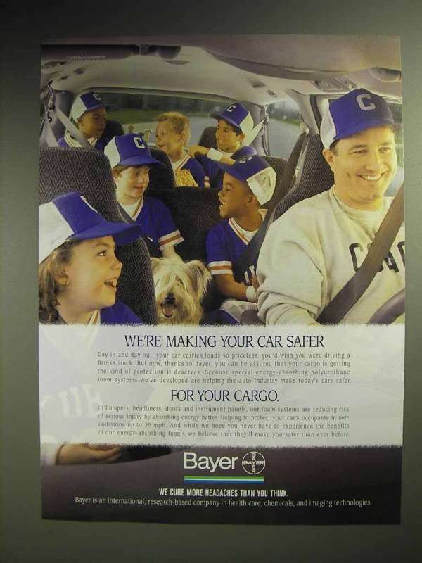 1996 Bayer Pharmaceutical Ad - Making Your Car Safer