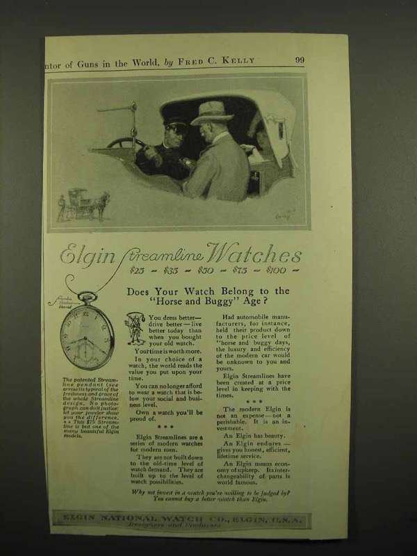 1918 Elgin Streamline Watch Ad - Horse and Buggy Age?