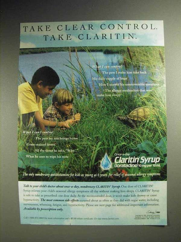 1999 Schering-Plough Claritin Syrup Ad - Take Control