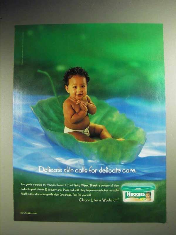 2001 Huggies Natural Care Baby Wipes Ad - Delicate