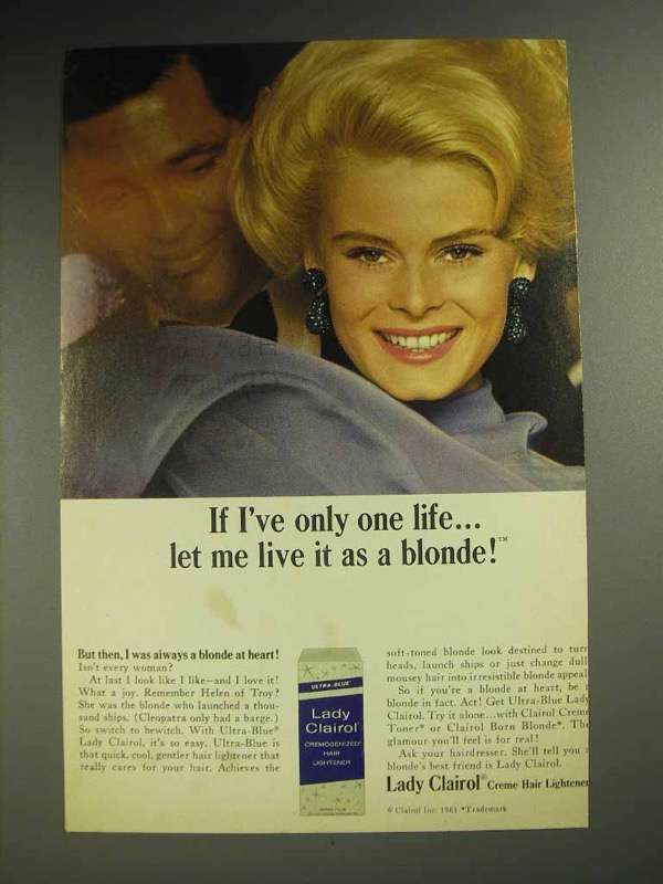 1964 Lady Clairol Creme Hair Lightener Ad - Live Blonde