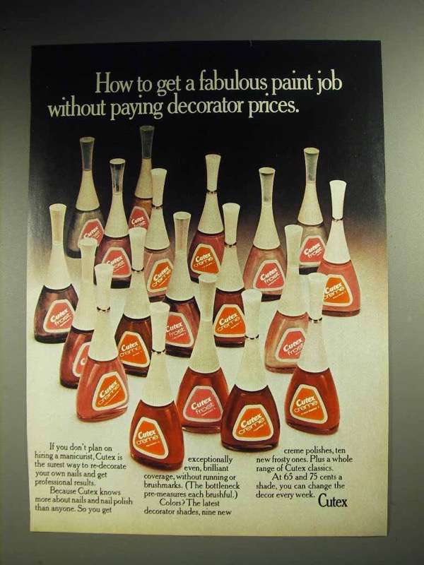 1972 Cutex Nail Polish Ad - Get a Fabulous Paint Job