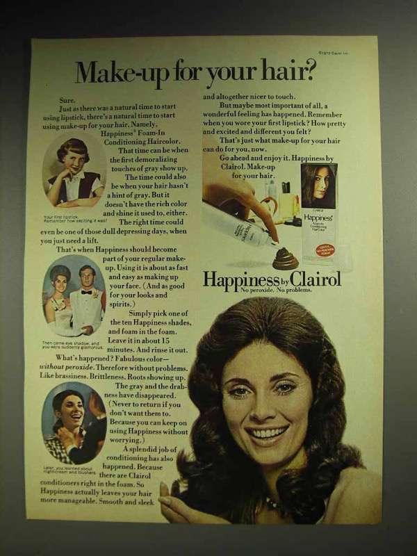 1972 Clairol Happiness Foam-in Haircolor Ad - Make-up
