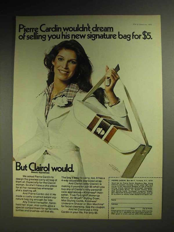 1972 Clairol Hair Care Ad - Pierre Cardin Carry-all Bag