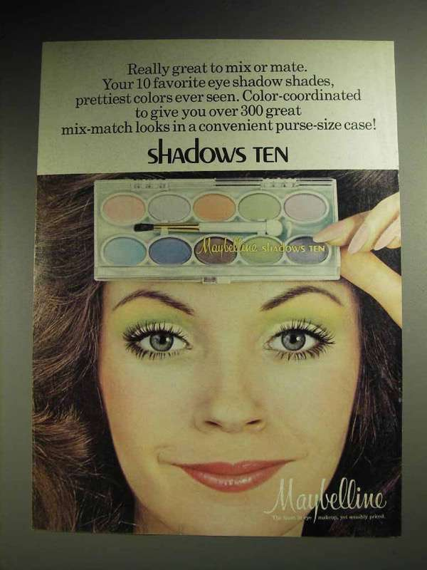 1973 Maybelline Shadows Ten Eye Shadow Ad - Mix or Mate