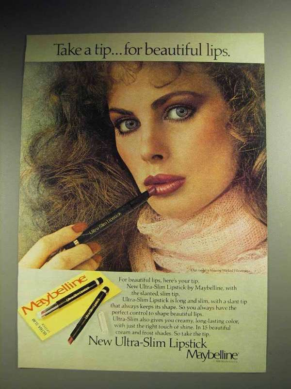 1980 Maybelline Ultra-Slim Lipstick Ad - Take a Tip