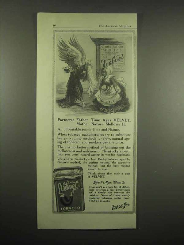 1917 Velvet Tobacco Ad - Father Time, Mother Nature