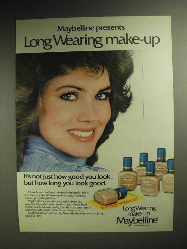 1984 Maybelline Long Wearing Make-Up Ad - How Long