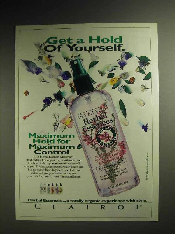 1999 Clairol Herbal Essences Hairspray Ad - Get a Hold