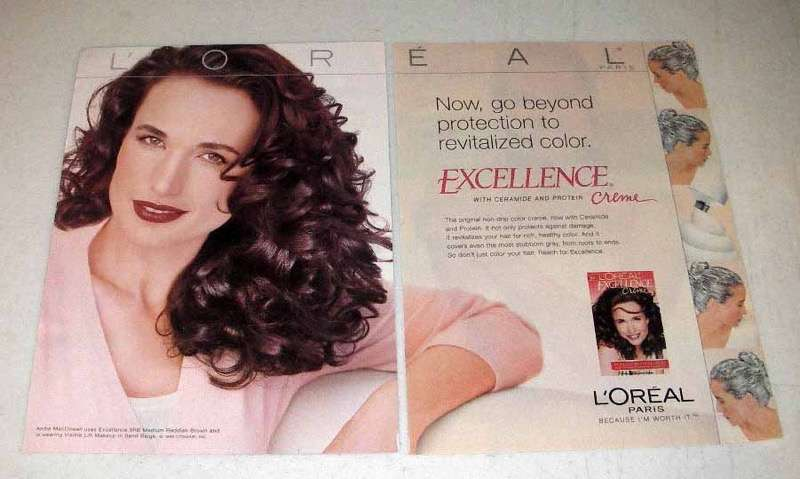 2000 L'Oreal Excellence Hair Color Ad - Andie MacDowell