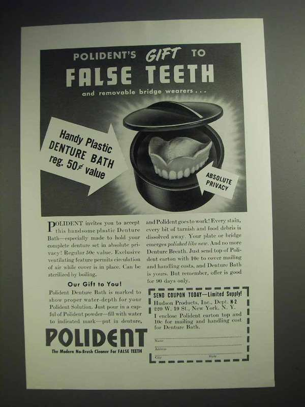 1942 Polident Ad - Gift to False Teeth