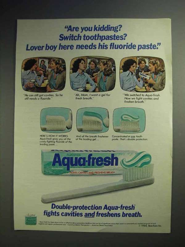 1980 Aqua-Fresh Toothpaste Ad - Are you Kidding? Switch