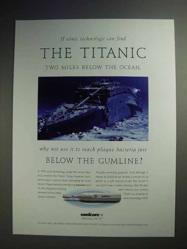 1996 Sonicare Toothbrush Ad - Can Find the Titanic