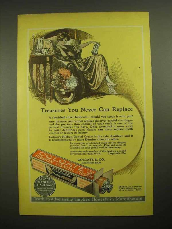 1923 Colgate's Ribbon Dental Cream Toothpaste Ad - You Can Never Replace