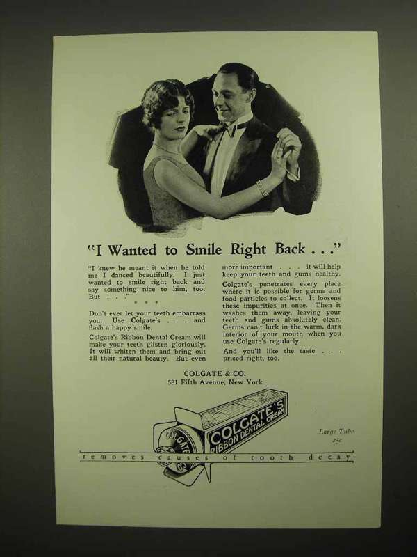 1926 Colgate's Ribbon Dental Cream Toothpaste Ad - Smile Right Back