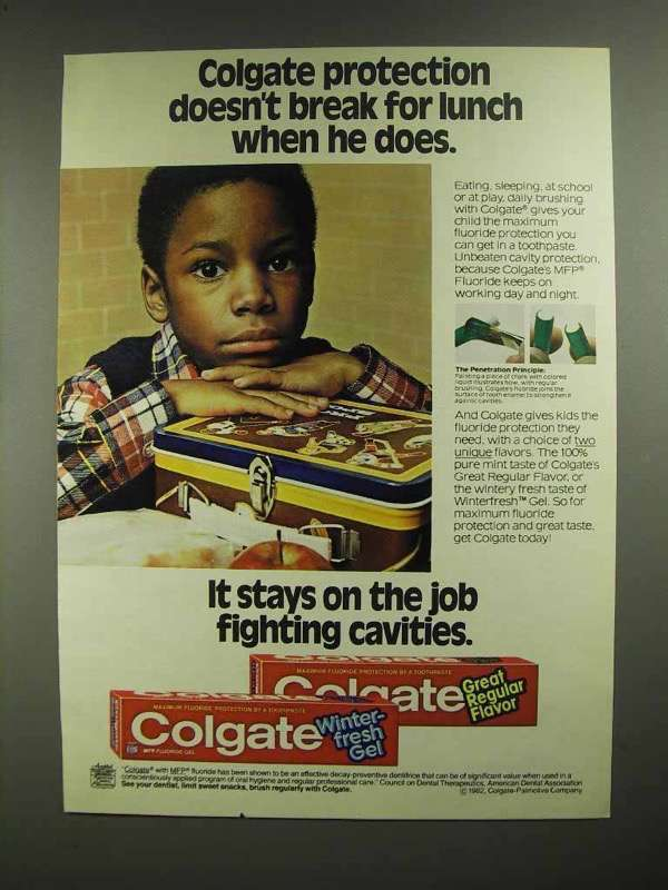 1982 Colgate Toothpaste Ad - Doesn't Break for Lunch