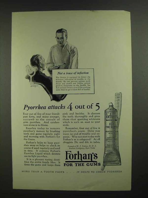 1926 Forhan's Toothpaste Ad - Pyorrhea Attacks 4 of 5