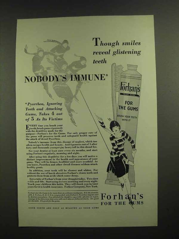 1929 Forhan's Toothpaste Ad - Reveal Glistening Teeth