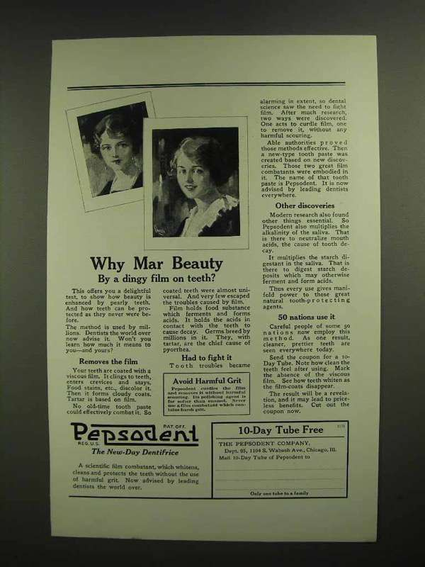 1923 Pepsodent Toothpaste Ad - Why Mar Beauty