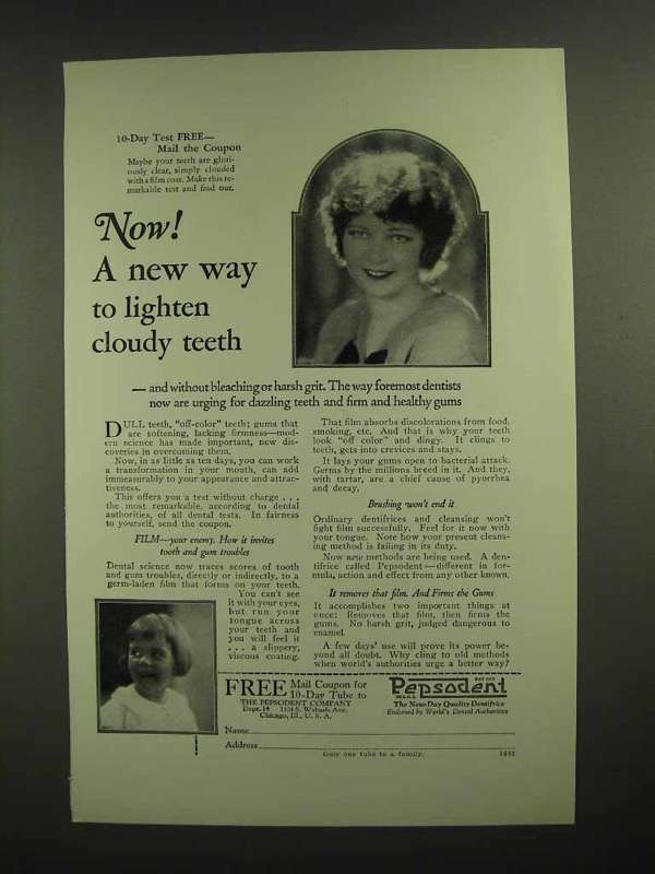 1925 Pepsodent Toothpaste Ad - New Way to Lighten Cloudy Teeth