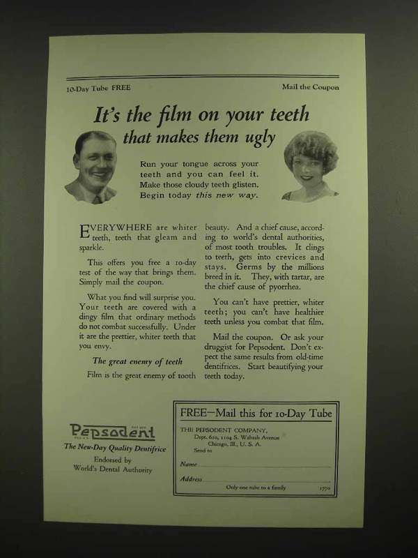 1925 Pepsodent Toothpaste Ad - Film on Your Teeth