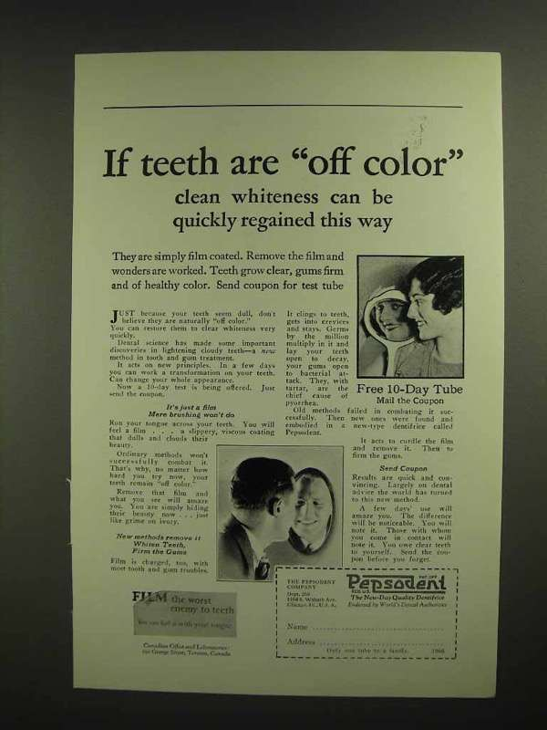 1926 Pepsodent Toothpaste Ad - Teeth are Off Color