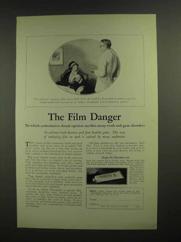 1926 Pepsodent Toothpaste Ad - The Film Danger