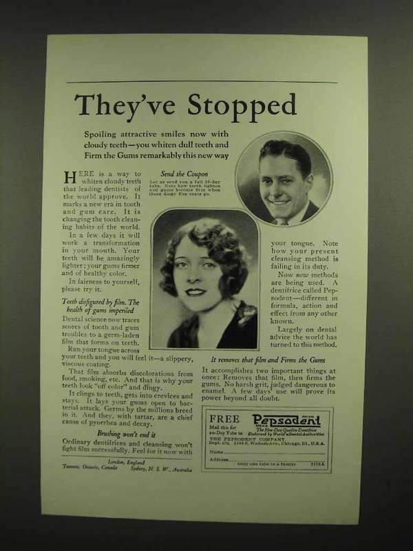 1926 Pepsodent Toothpaste Ad - They've Stopped