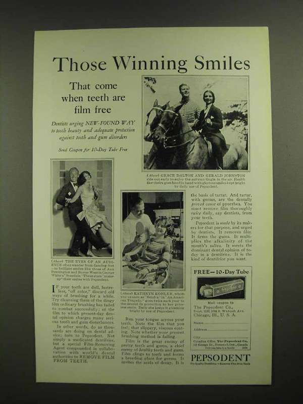 1927 Pepsodent Toothpaste Ad - Those Winning Smiles