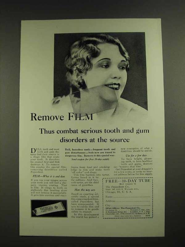 1929 Pepsodent Toothpaste Ad - Remove Film