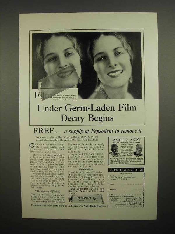 1930 Pepsodent Toothpaste Ad - Under Germ-Laden Film