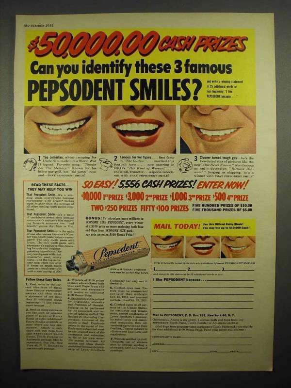 1951 Pepsodent Toothpaste Ad - Identify Famous Smiles