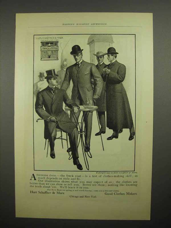 1903 Hart Schaffner & Marx Clothes Ad - The Frock Coat