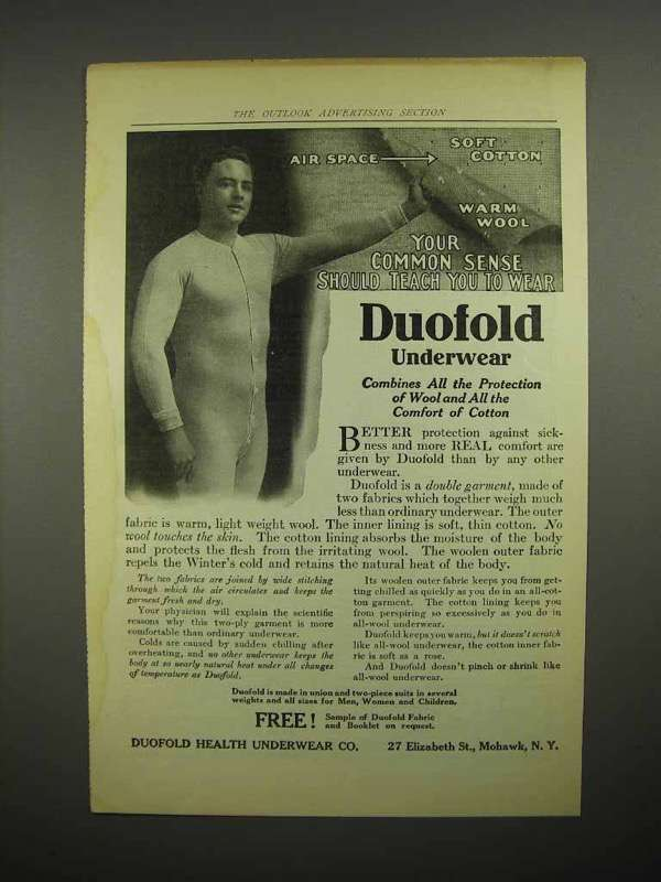 1914 Duofold Underwear Ad - Your Common Sense