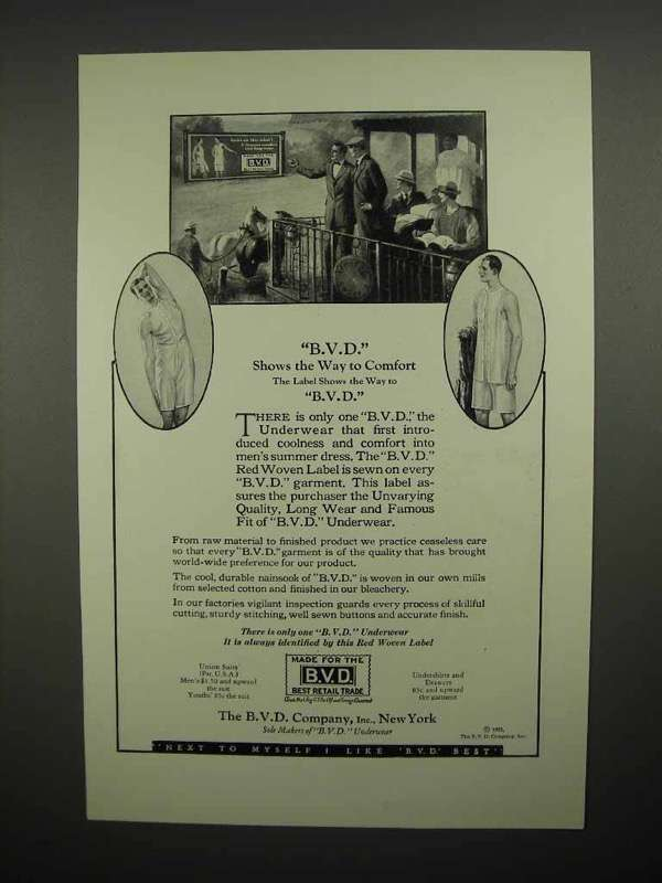1923 B.V.D. Underwear Ad - Shows the Way to Comfort