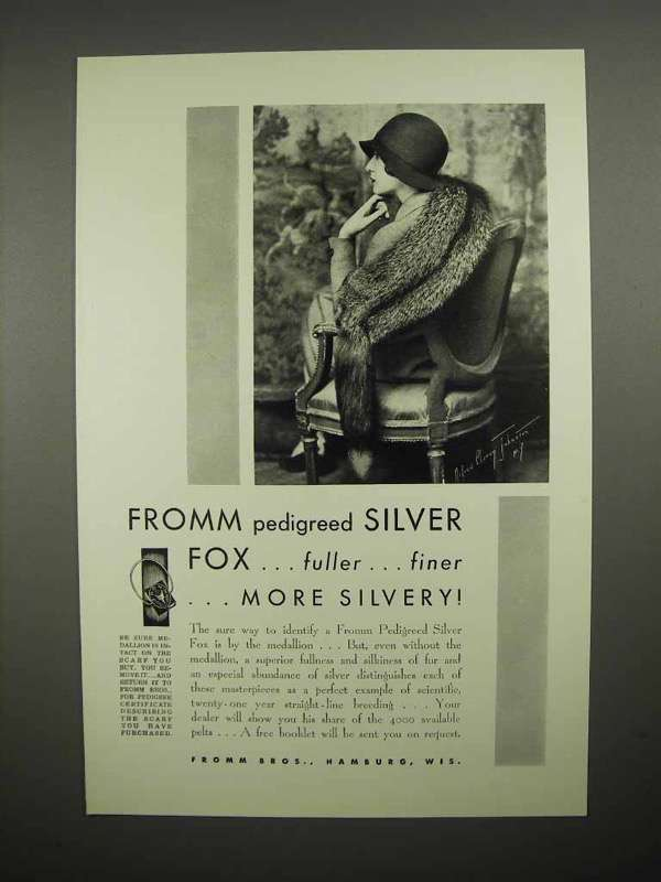 1930 Fromm Pedigreed Silver Fox Scarf Ad - Fuller