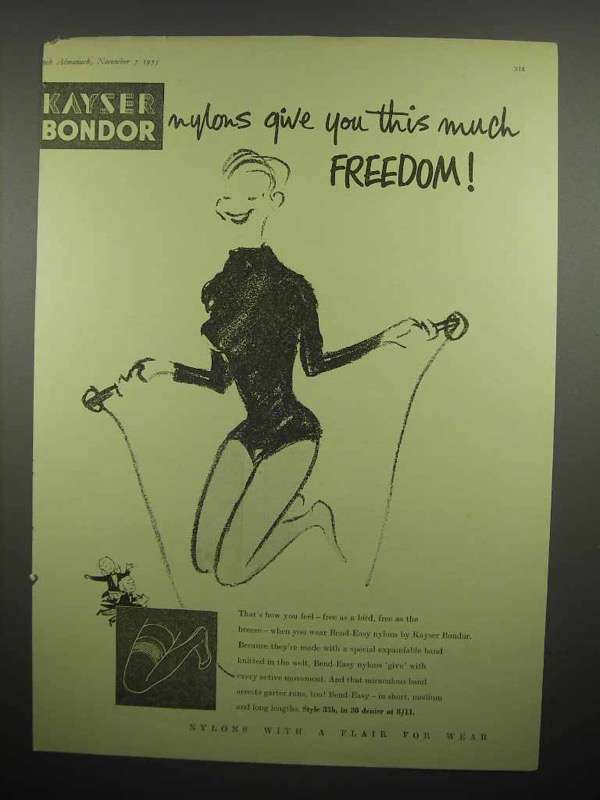 1955 Kayser Bondor Nylons Ad - Give You Freedom