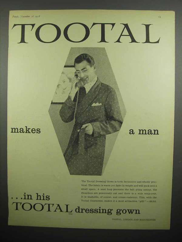 1958 Tootal Dressing Gown Ad - Makes A Man