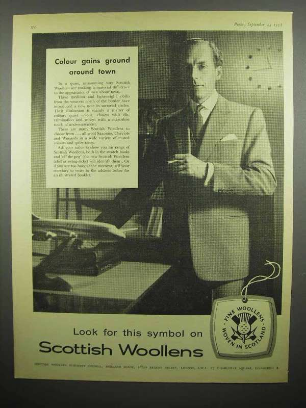 1958 Scottish Woolens Clothes Ad - Colour Gains Ground